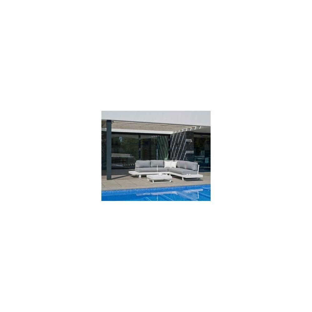 Hevea Hevea Ensemble Salon Sofa De Jardin MENFI 2+2 en ALUMINIUM BLANC Coussins couleur GRIS CLAIR HEV31485