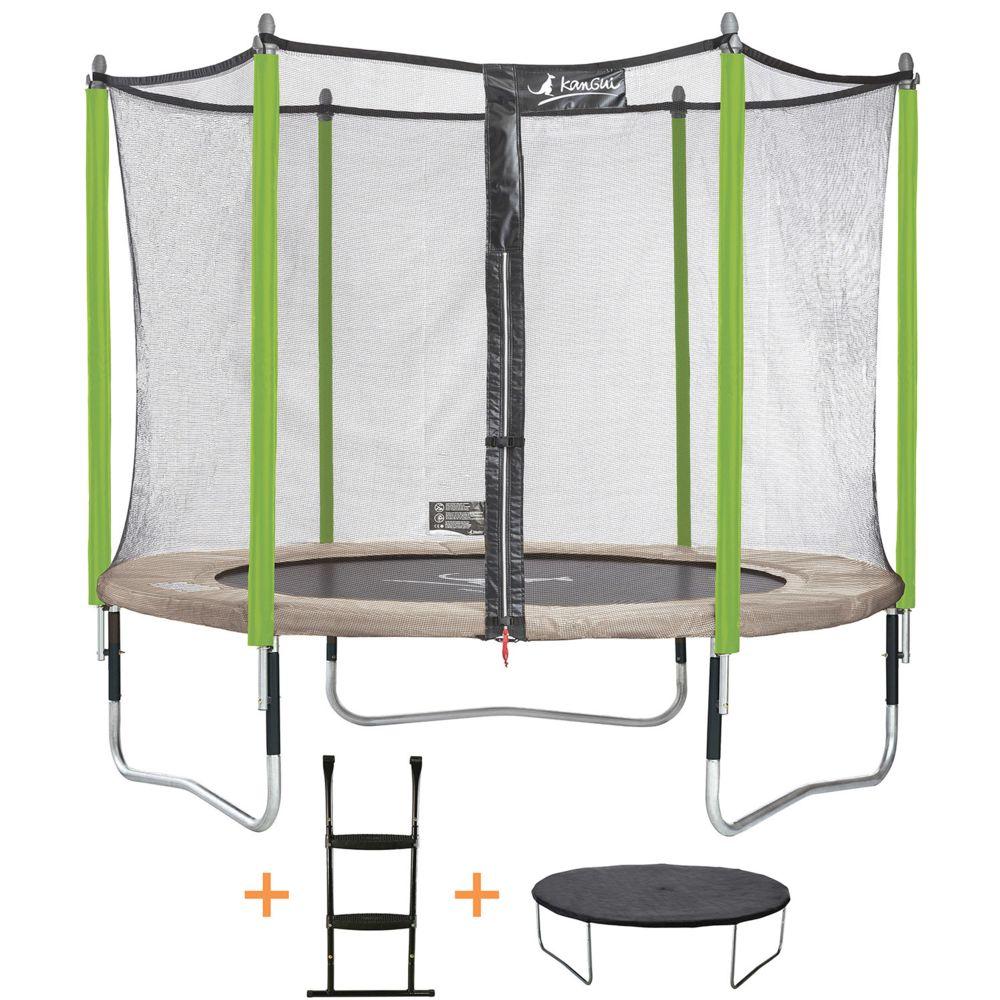 Kangui Kangui - Trampoline de jardin 305 cm + filet de sécurité + échelle + bâche de protection JUMPI Taupe/Vert 300.