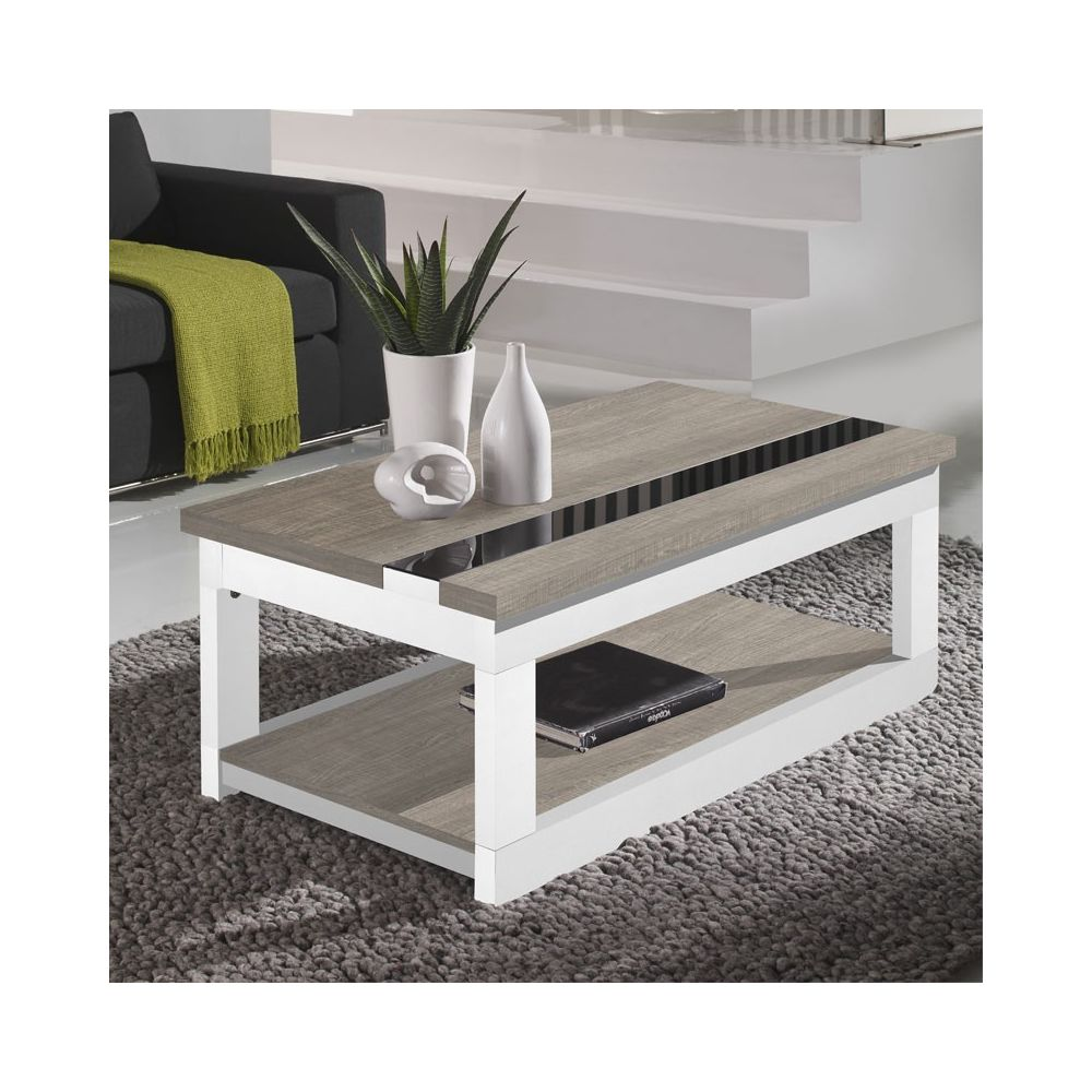 Tousmesmeubles Table basse relevable Chêne clair/Bois Blanc - UPTI
