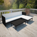 Vidaxl vidaXL Salon d'extérieur noir avec canapé 3 places en polyrotin