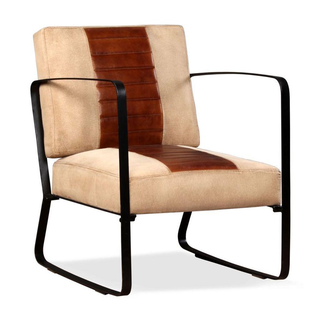 Helloshop26 Fauteuil chaise siège lounge design club sofa salon de salon cuir véritable et toile marron 1102321