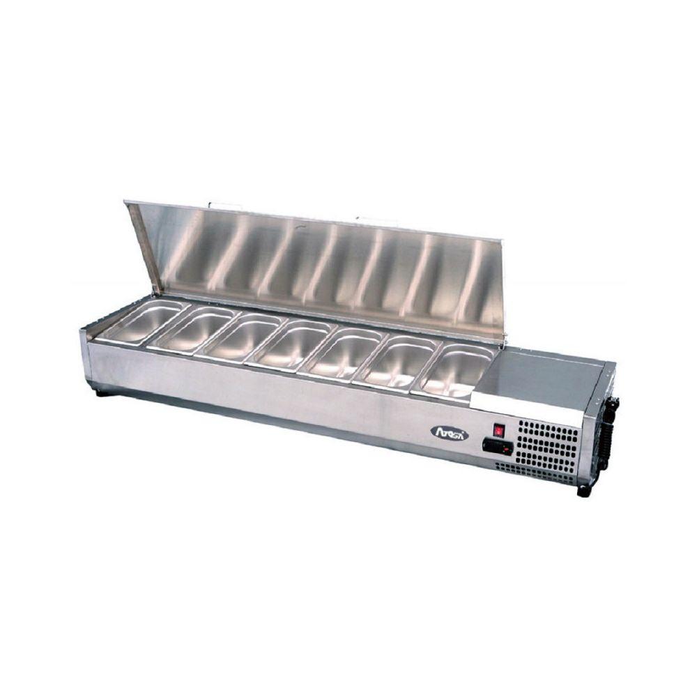 Atosa Saladette Réfrigérée à Poser Couvercle Inox Bacs GN 1/4 - 1200 à 2000 mm - Atosa - R600A 1400 mm