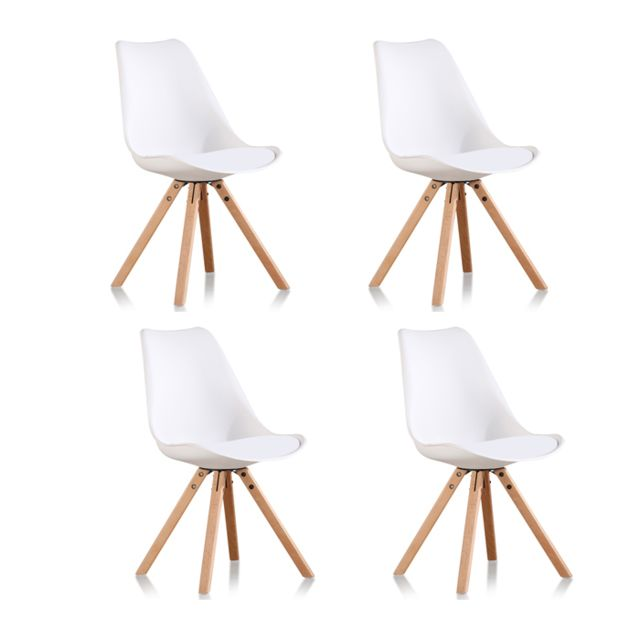 Oneboutic - Lot de 4 chaises scandinaves blanches - Helsinki - Chaises