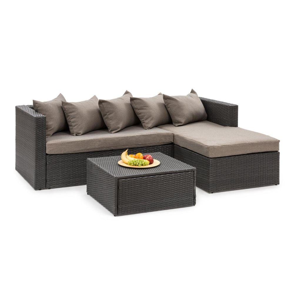 Blumfeldt Blumfeldt Theia Lounge Salon de jardin complet polyrotin noir & marron