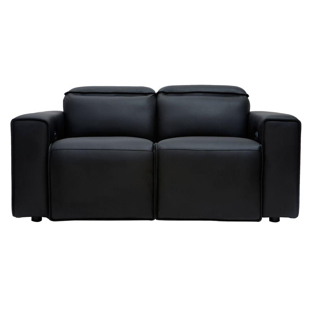 Miliboo Canapé relax électrique en cuir noir avec têtières ajustables RUIZ - cuir de vache