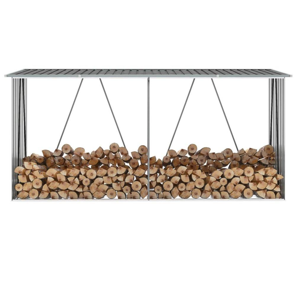Vidaxl Abri de stockage de bois Acier galvanisé 330x84x152 cm Gris - Accessoires pour range-bûches et porte-bûches | Gris | Gri