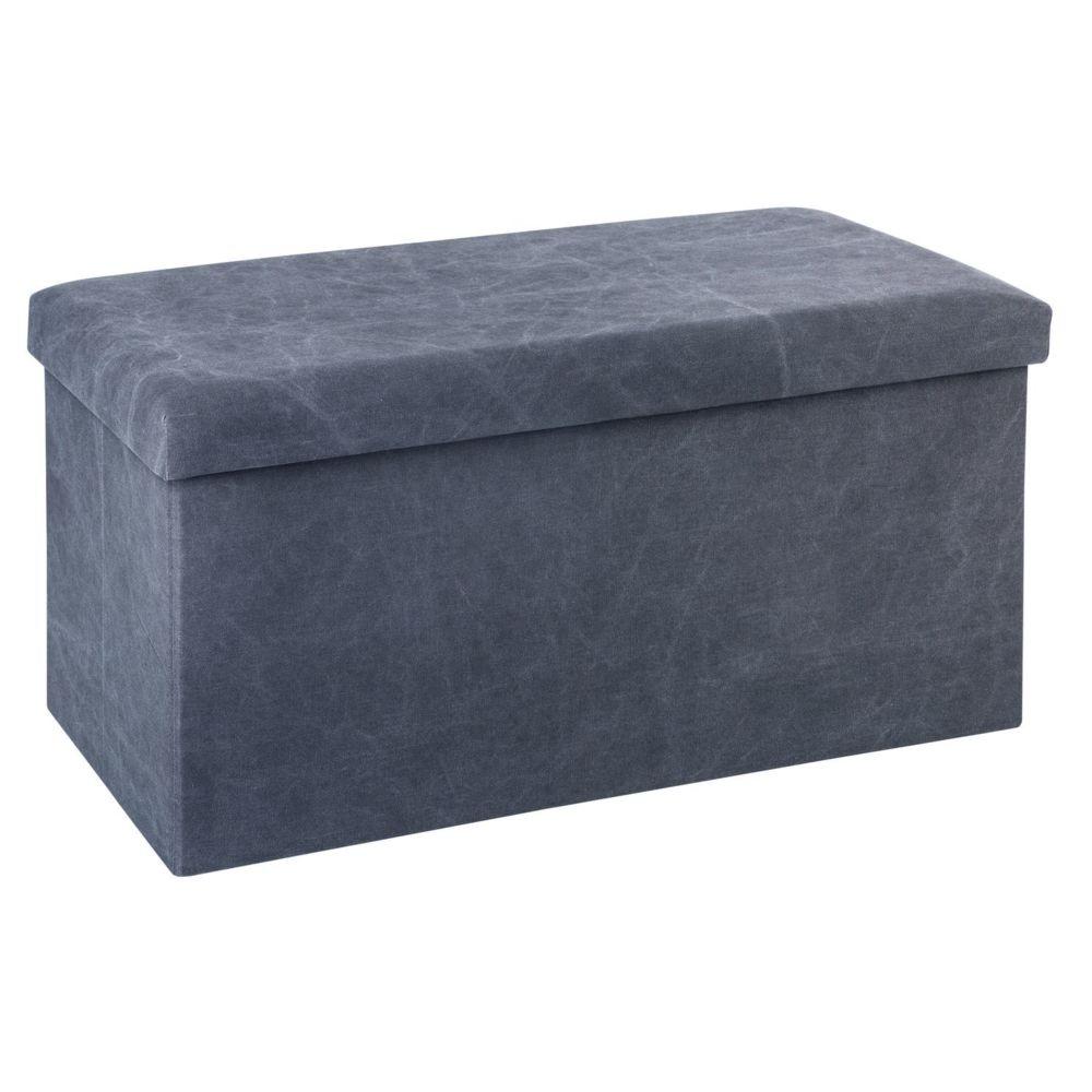 Atmosphera, Createur D'Interie Banquette coffre pliable Stone Wash - L. 76 x H. 37,5 cm - Gris