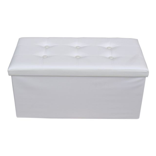 Poufs Mobili Rebecca Pouf Coffre de rangement Banc Rectangle Blanc Stokage 38x76x38