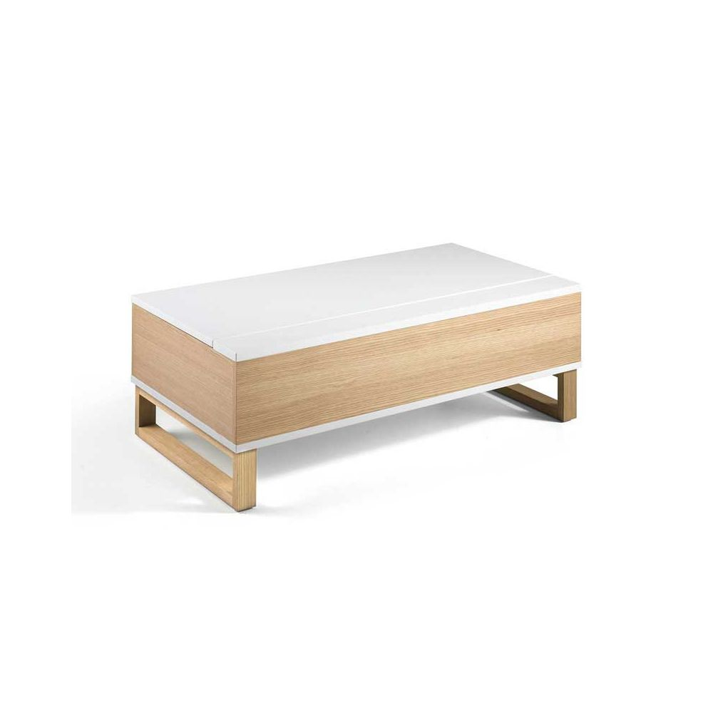 Tousmesmeubles Table basse relevable Blanc/Chêne - AUCKLAND