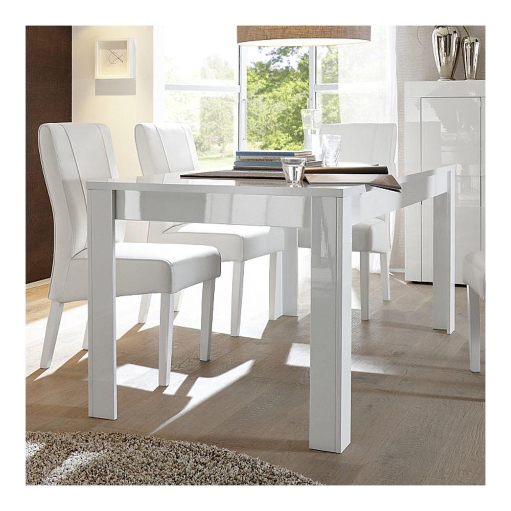 Sofamobili Table à manger blanc laqué brillant design OKLAND - Avec rallonge