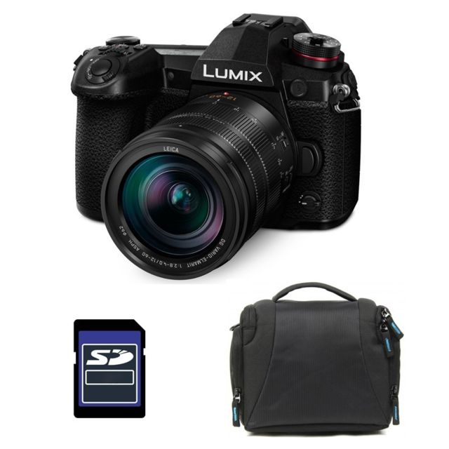 Panasonic - PACK PANASONIC LUMIX G9 Noir + 12-60 f/2.8-4.0 + Sac et Carte SD 4 Go - Pack appareil photo