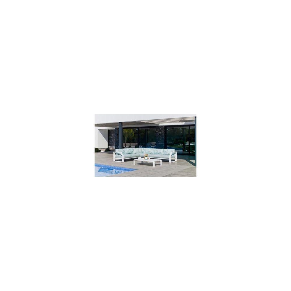 Hevea Hevea Ensemble Salon Sofa De Jardin ZAFIR CC8 en ALUMINIUM BLANC Coussins couleur MIRTA DALIA HEV31504