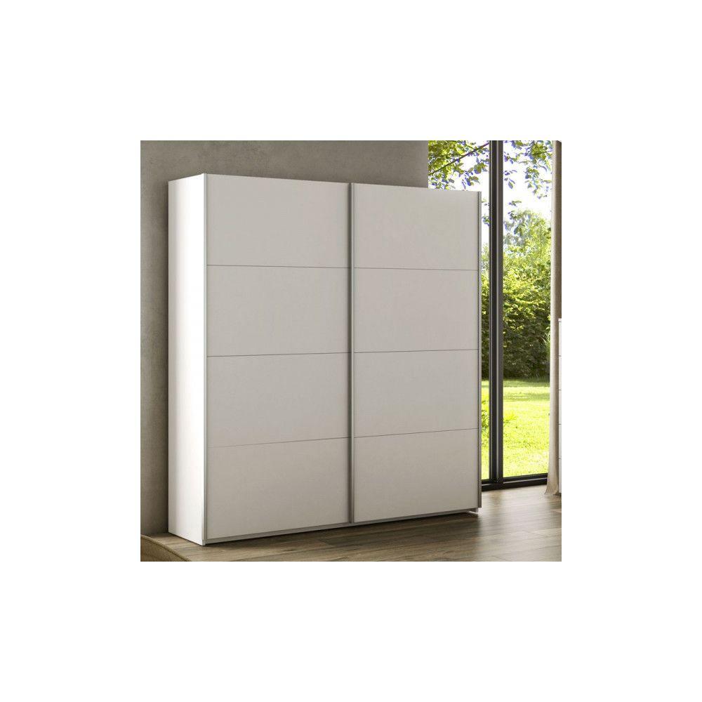 Dansmamaison Armoire 2 portes coulissantes Blanc - COPIST - L 150 x l 60 x H 200 cm