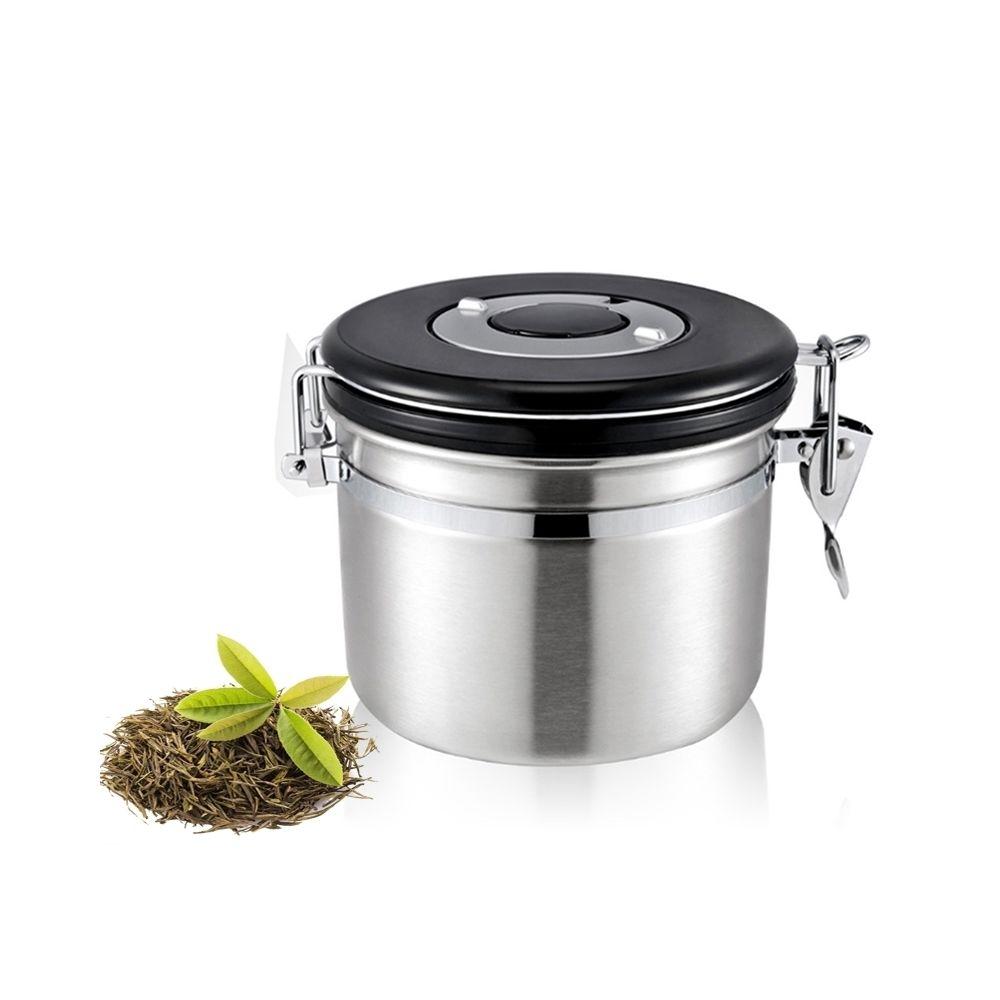 Wewoo 1200ml en acier inoxydable scellé café et argent aliments motifs conteneur de stockage de haricots avec intégré CO2 soup