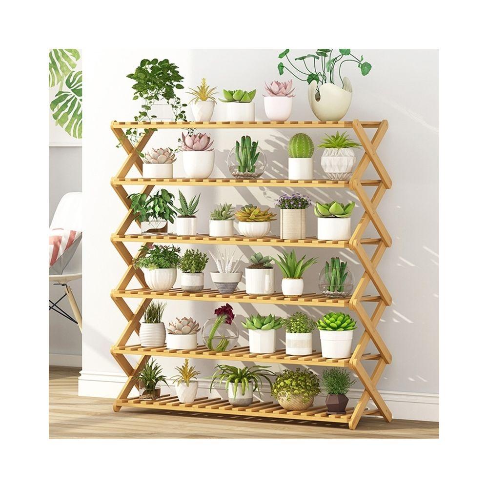 Wewoo 6-couche balcon salon pliante support de fleurs en bois massif étagères de plantation potlongueur 100cm
