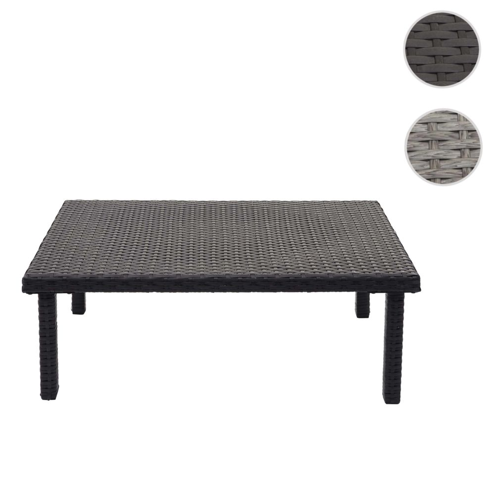 Mendler Table d'appoint en polyrotin HWC-G16, table de jardin/balcon, gastronomie 80x50cm ~ noir