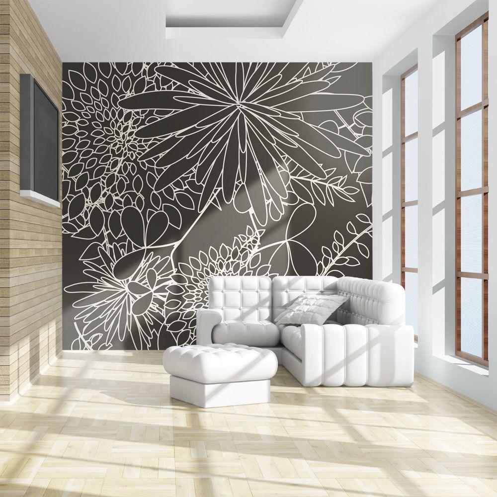 Declina Papier peint - Motif floral noir et blanc