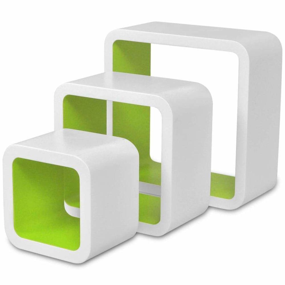 Helloshop26 Étagère armoire meuble design murales forme de cube 6 pcs blanc et vert 2702250