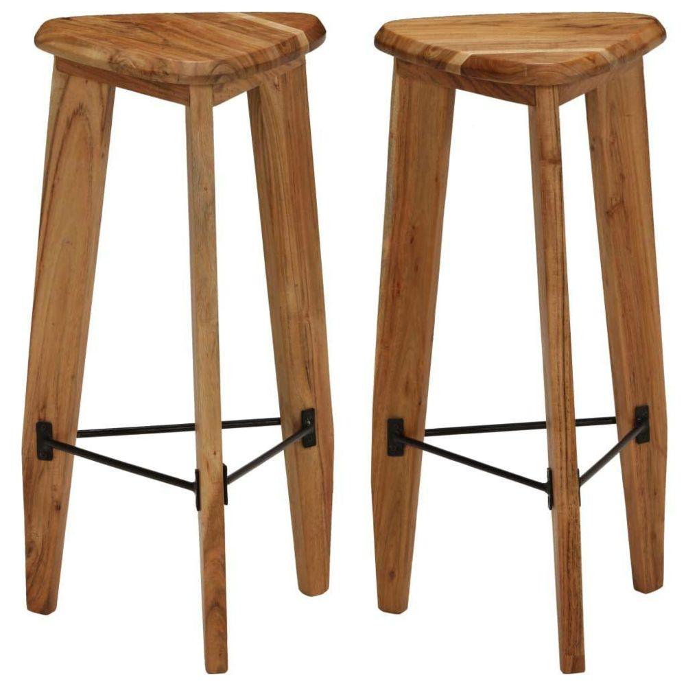 Helloshop26 Lot de deux tabourets de bar design chaise siège bois d'acacia massif triangulaire 1202114