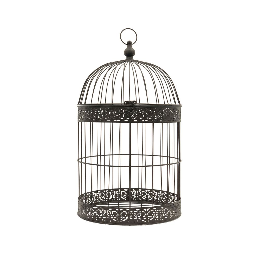 L'Originale Deco Grande Cage Oiseaux Bougie Ronde Marron 62 cm x ø35 cm