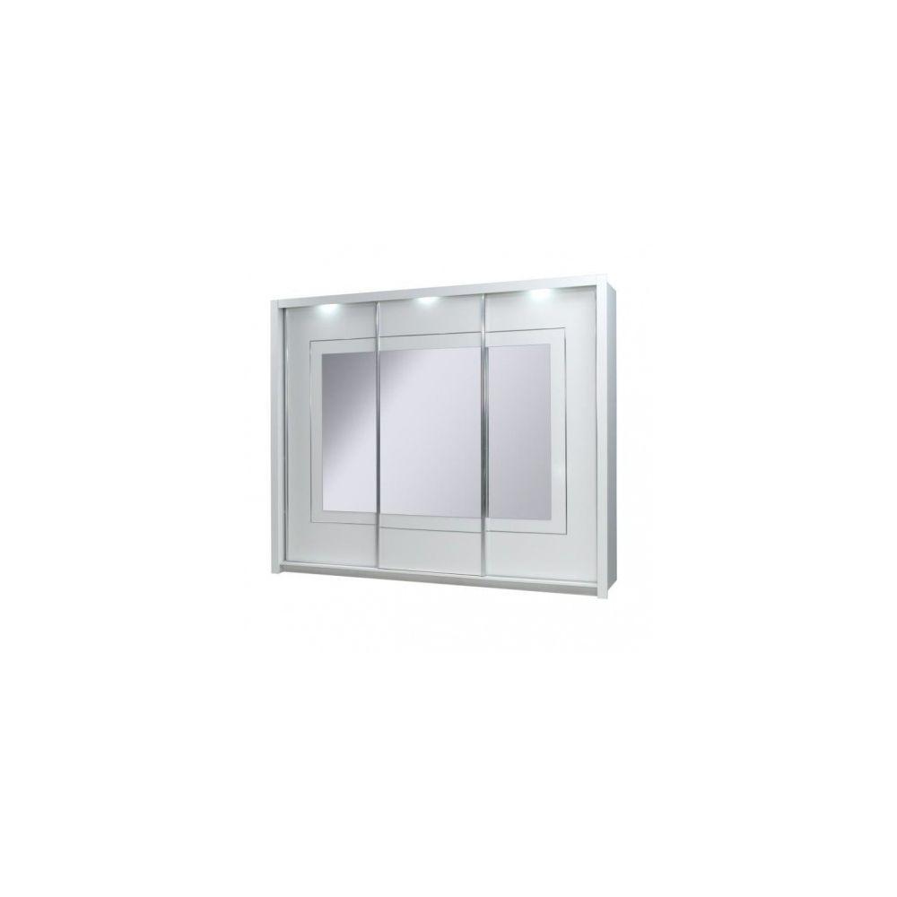 Price Factory Armoire design trois portes coulissantes PANAREA. Miroirs inclus. Eclairage LED intégré. Finition chrome
