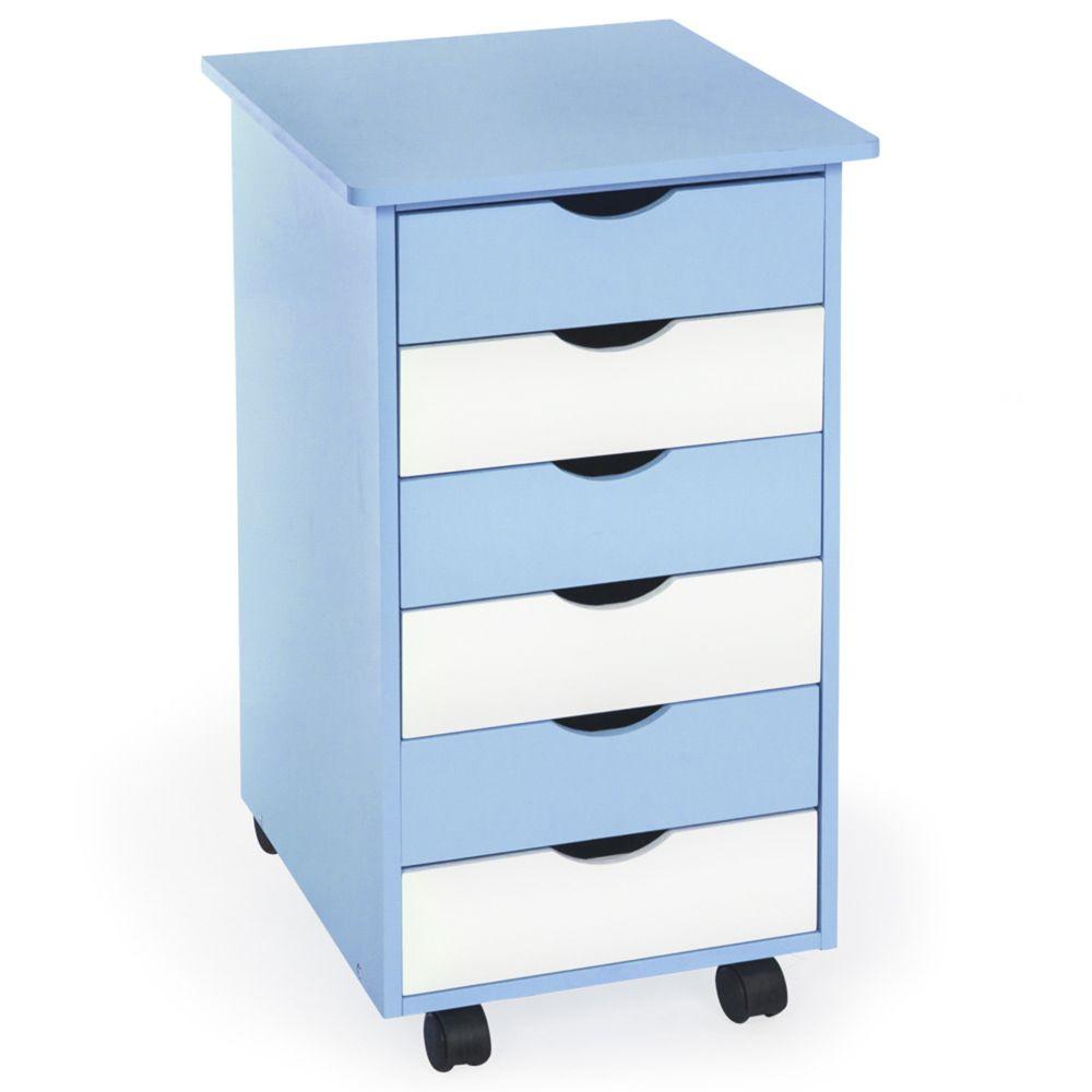 Tectake Caisson de bureau en bois - bleu