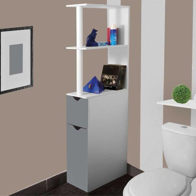 meuble wc etagere bois gain de place pour toilette 2 portes grises