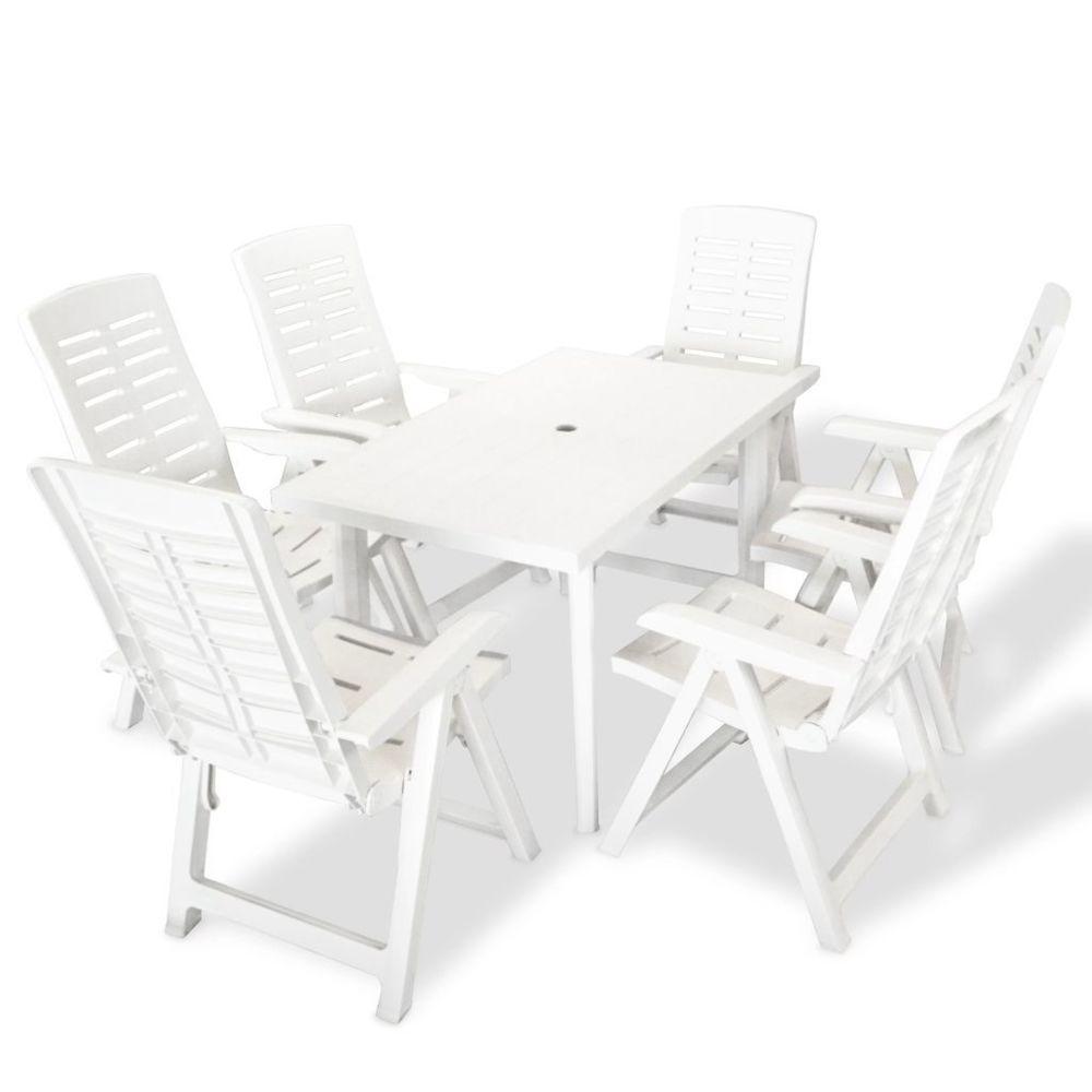 Vidaxl vidaXL Mobilier à dîner d'extérieur 7 pcs Plastique Blanc