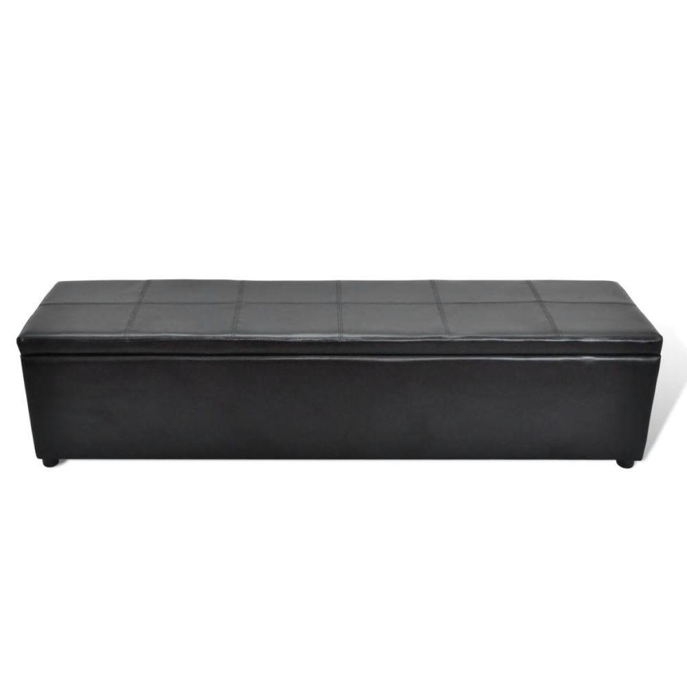 Vidaxl Banc banquette coffre de rangement noir taille large | Noir