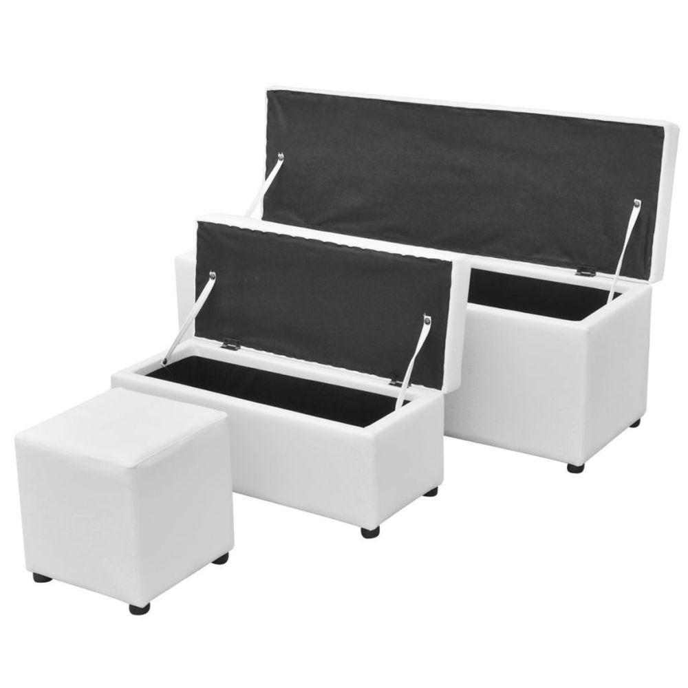 Helloshop26 Banquette pouf tabouret meuble jeu de repose-pied de rangement cuir synthétique blanc 3002096