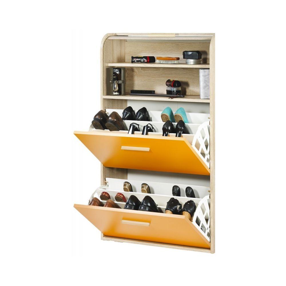 Simmob Meuble à Chaussures Chêne Abattants Mandarine Vintage - Coloris Rideau: Rideau Blanc
