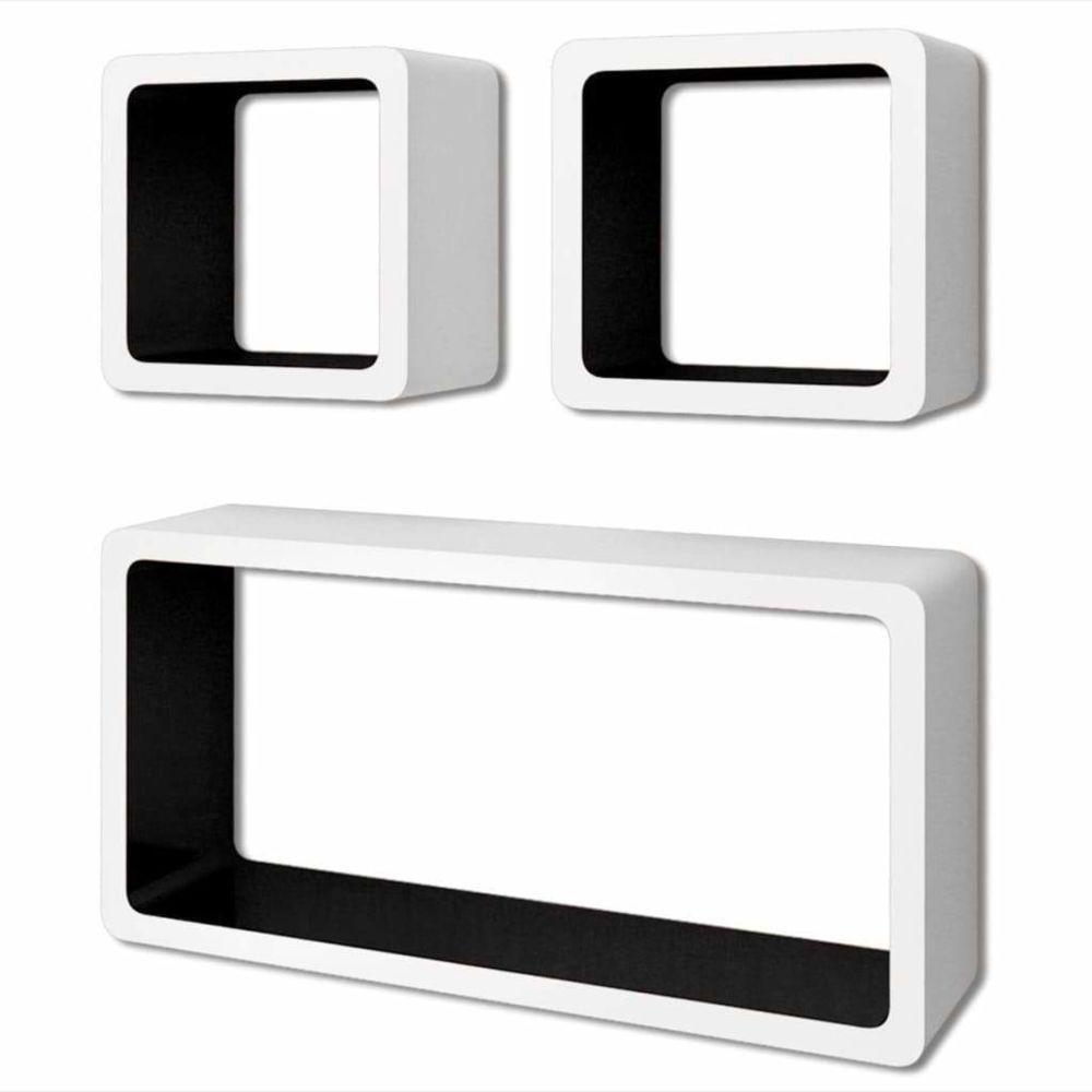Helloshop26 Étagère armoire meuble design murales forme de cube 6 pcs blanc et noir 2702243/2