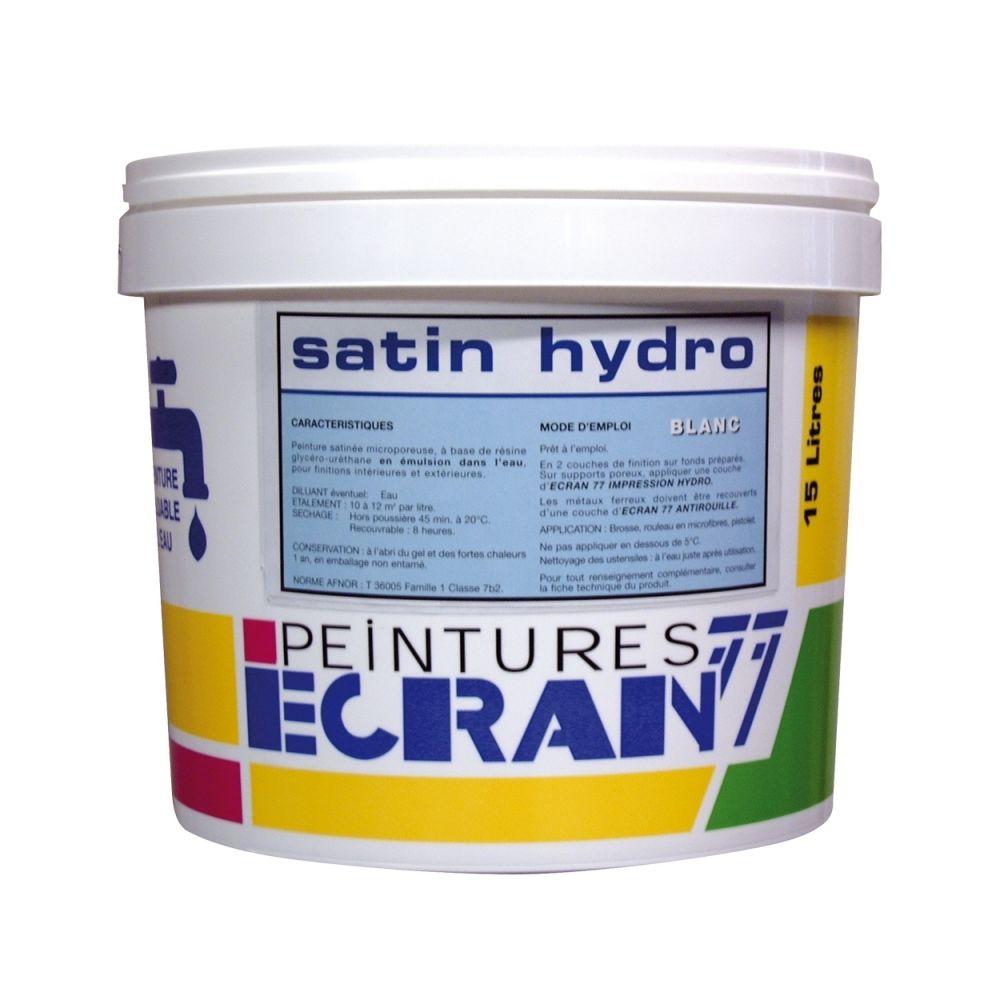 Peintures Daniel Peinture professionnelle alkyde, satin, pour murs et plafonds, blanc, SATIN HYDRO-4 litres