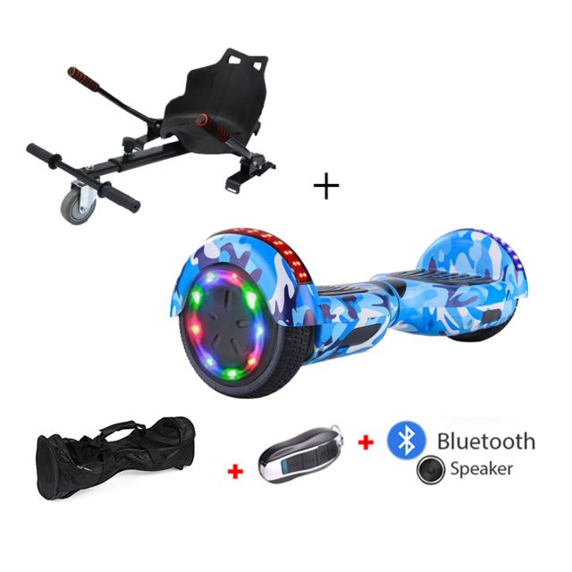 Mac Wheel - 6,5 pouces bleu marin Gyropod Overboard Hoverboard Smart Scooter + Bluetooth + clé à distance + sac + Roue LED + hoverkart - Gyropode, Hoverboard