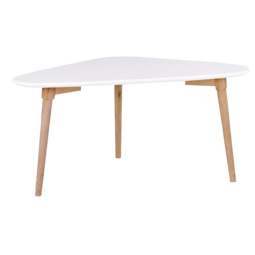 Pegane Table basse coloris blanc / naturel - Dim : 85 x 48 x 40 cm -PEGANE-