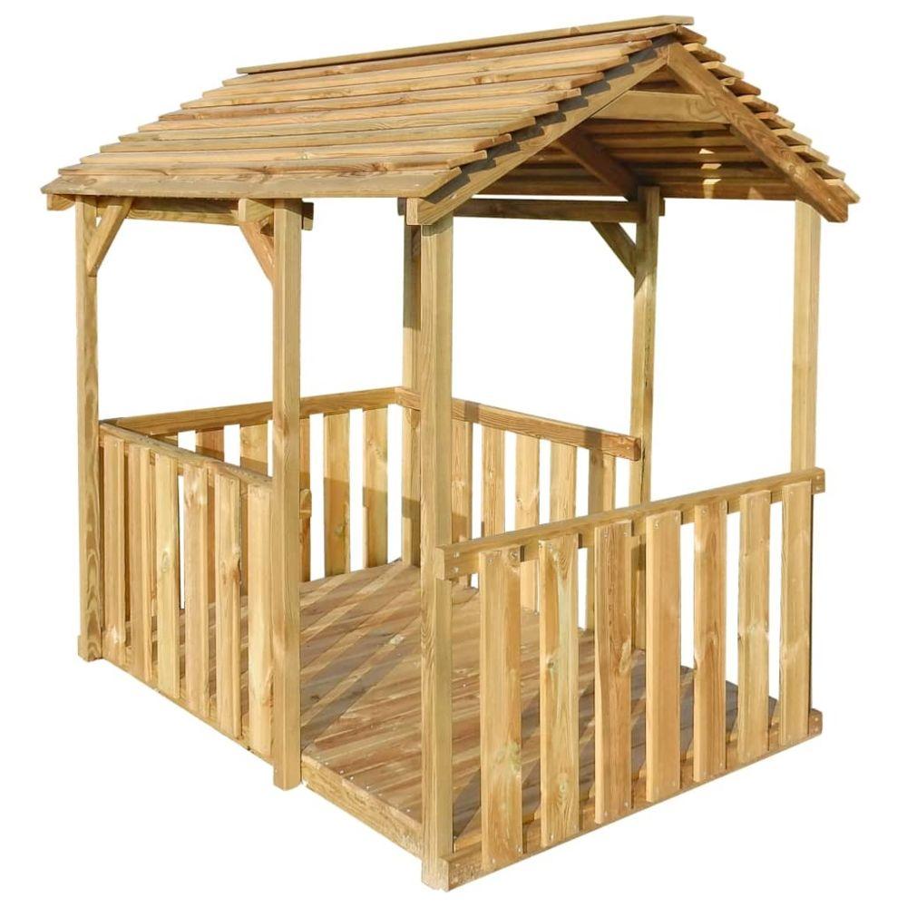 Vidaxl Aire de jeu pavillon d'extérieur 122,5 x 160 x 163 cm Pinède FSC | Brun - Maisonnettes et tentes de jeu - Enfant | Brun