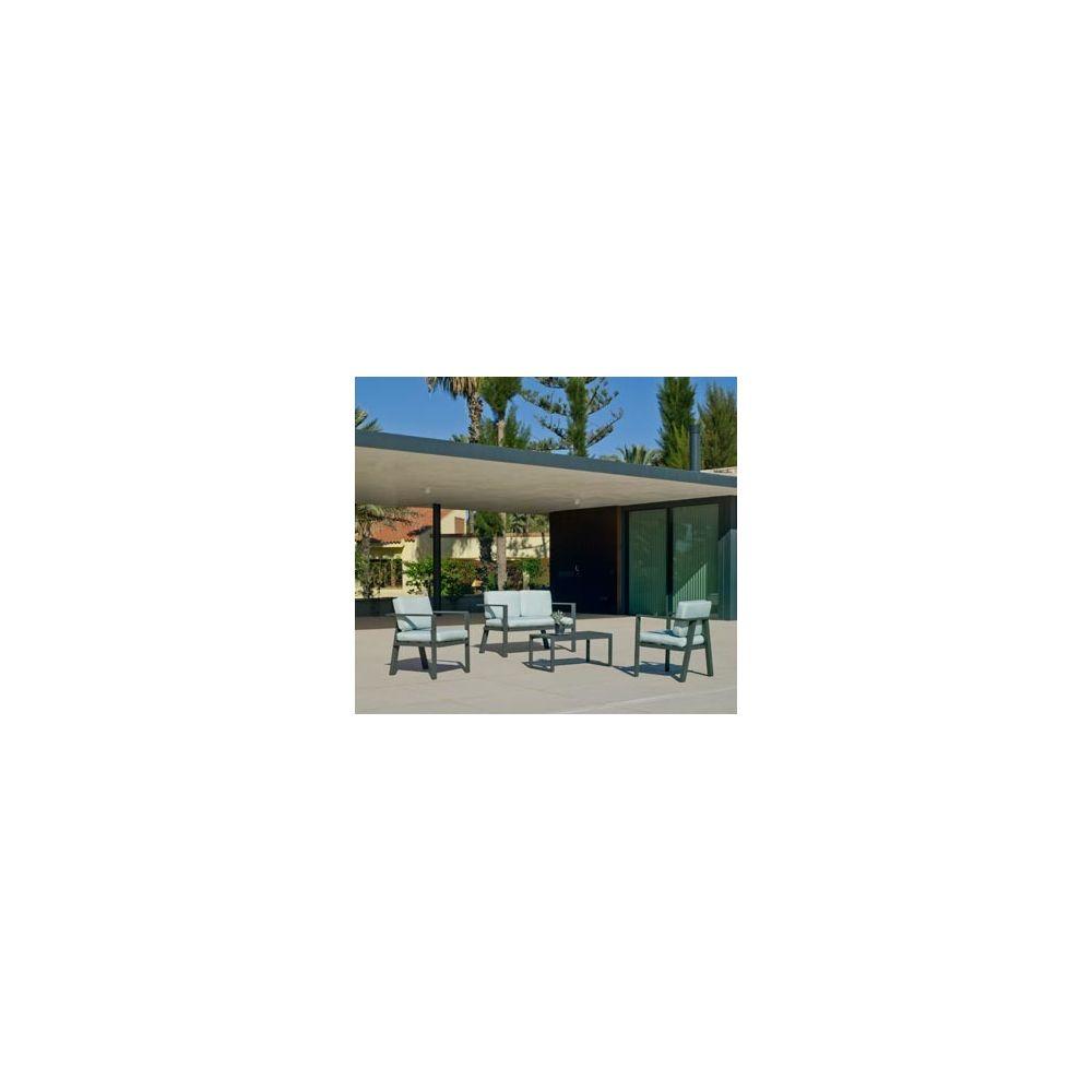 Hevea Hevea Ensemble Salon Sofa De Jardin AZORE 7 en ALUMINIUM ANTHRACITE Coussins couleur VERT MIRTA HEV31464