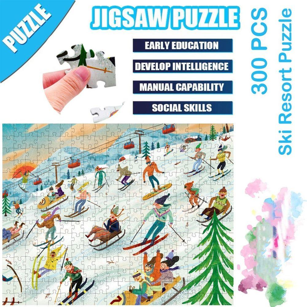 Generic Science Cartoon Ski Resort Puzzle 300 pièces éducatif Puzzle Game Toys