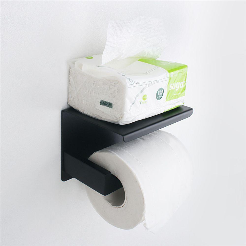 Generic Papier Nail-libre en acier inoxydable Porte-serviette solide toilette adhésif Holder papier Noir