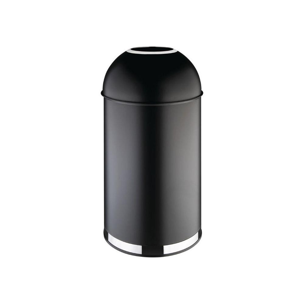Materiel Chr Pro Poubelle dôme ouverte en acier noire - 40 litres - Bolero -