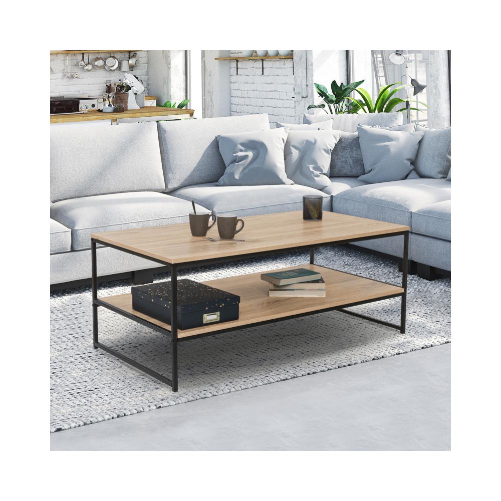 Idmarket Table basse double plateau DETROIT design industriel