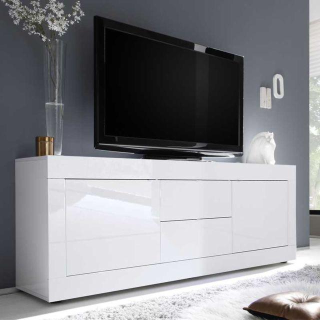 meuble tv 2 portes 2 tiroirs blanc laque brillant matera