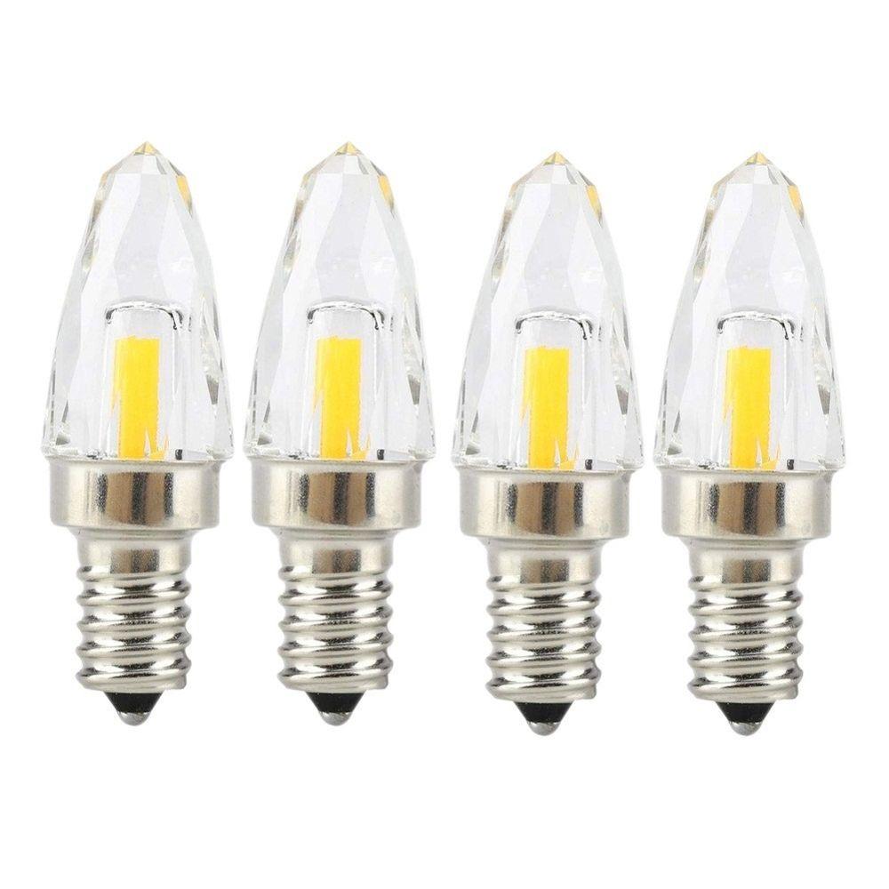 Wewoo 4 PCS E12 4W COB LED Ampoule en verre à filament d'éclairageAC 110-130V blanc froid