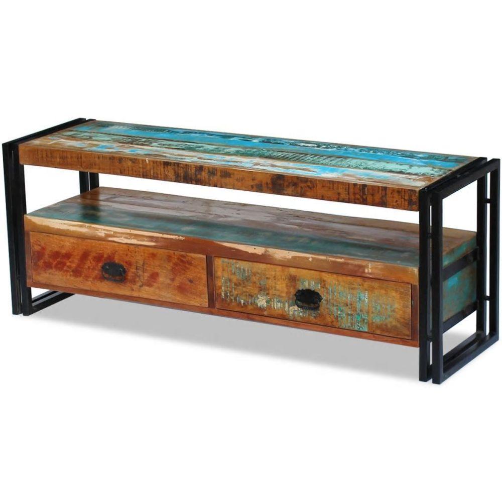 Helloshop26 Meuble télé buffet tv télévision design pratique bois de récupération massif 2502154