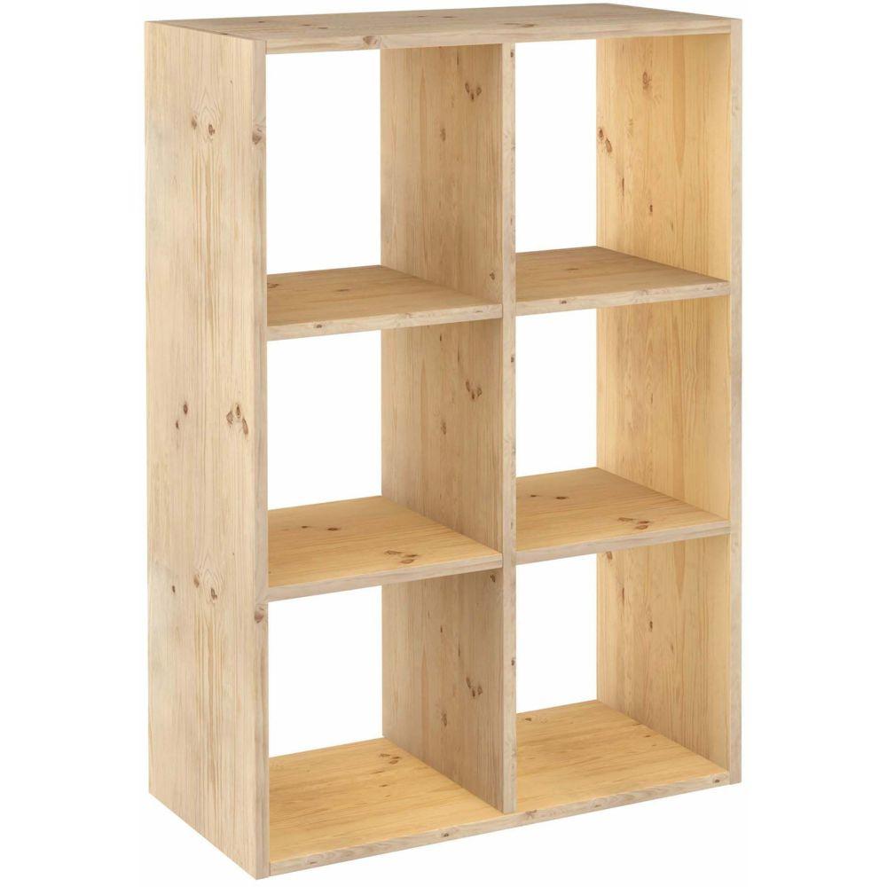 Astigarraga Étagère cubes en bois brut Dinamic 6 cases