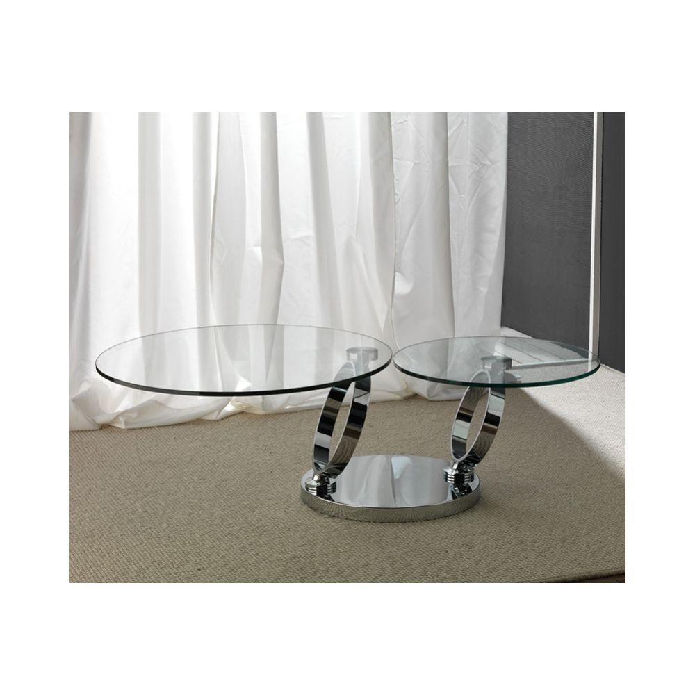 Sofamobili Table basse en cristal transparent et acier inox design MAISA
