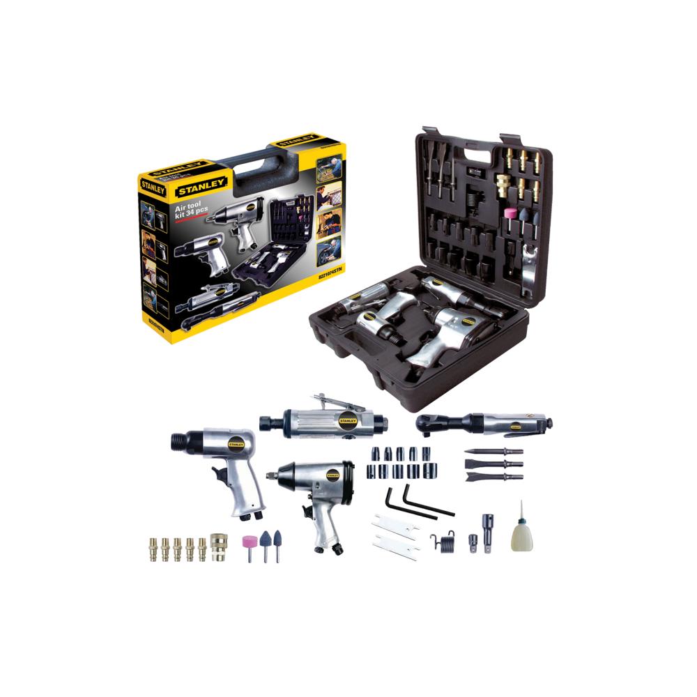 Stanley Kit d'outils pneumatiques + accessoires 34 pièces