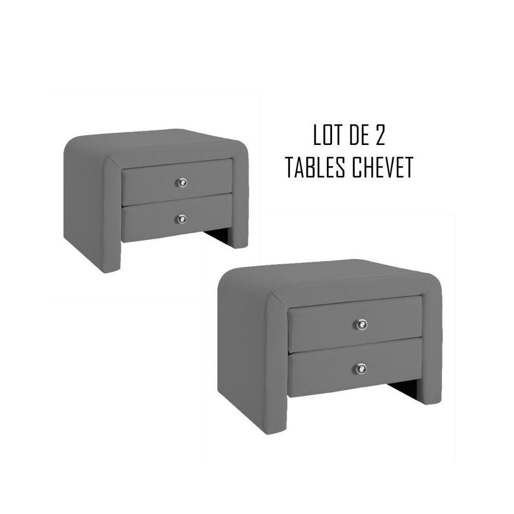 Meubler Design Table chevet design gris Eva x2