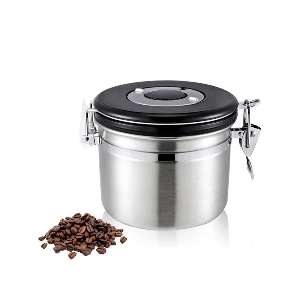 Wewoo 800ml en acier inoxydable scellé café et argent Food Grounds conteneur de stockage de haricots avec intégré CO2 soupape