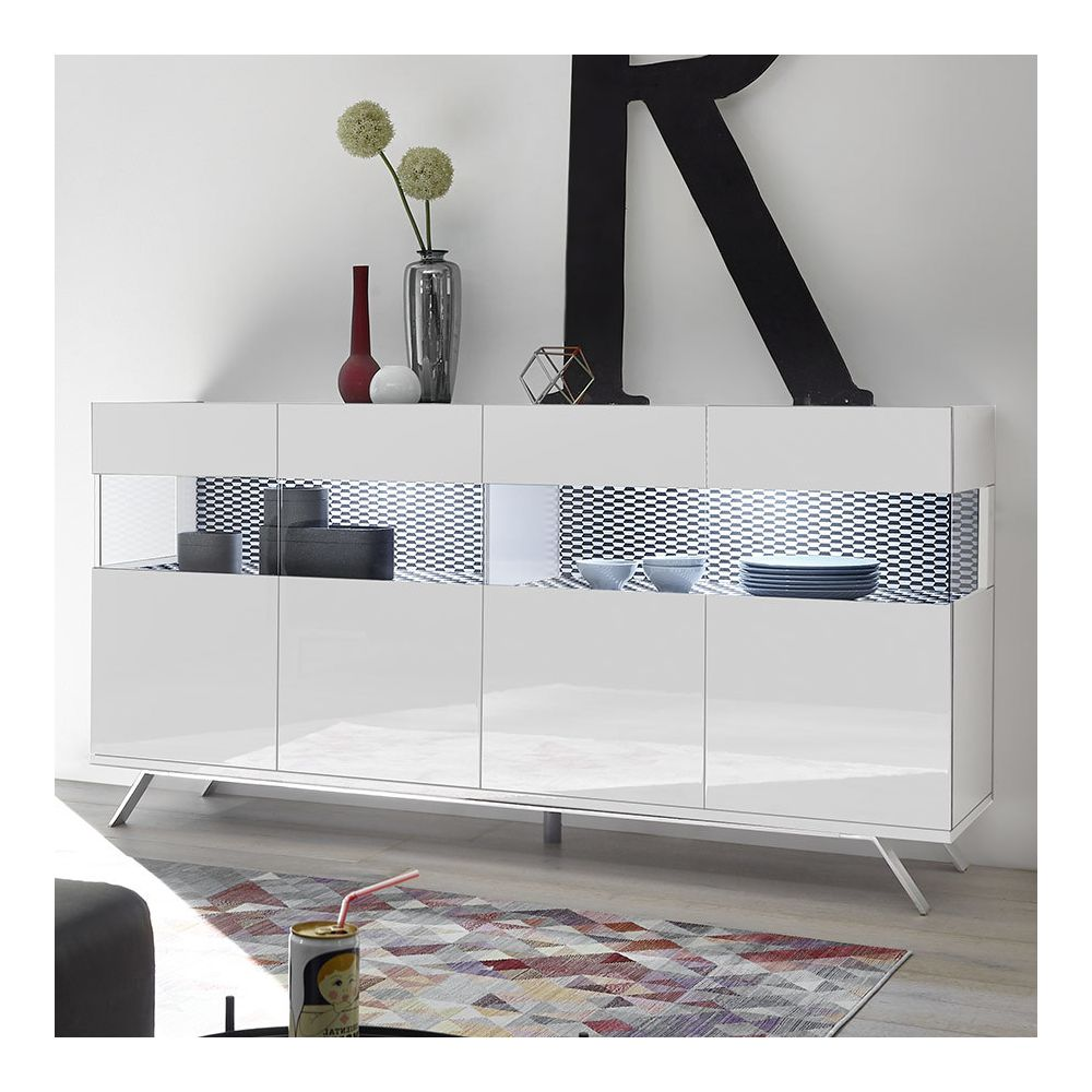 Kasalinea Buffet 4 portes LED blanc et noir design PALERMO 3